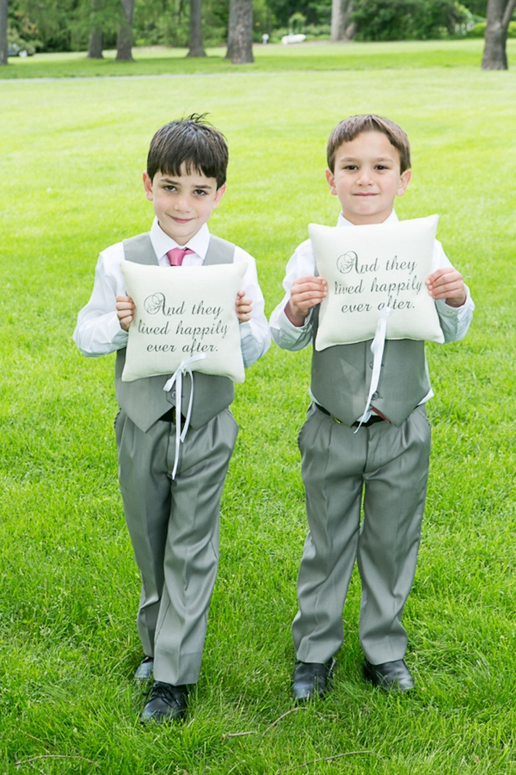 Ring bearers with And They Lived Happily Ever After ring pillows