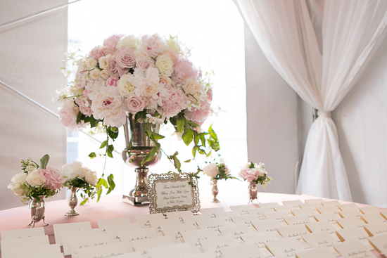 Romantic pink flowers for escort card display