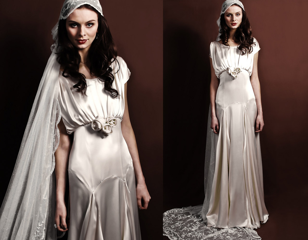 Slinky silk vintage inspired bridal gown for Silk vintage wedding dresses