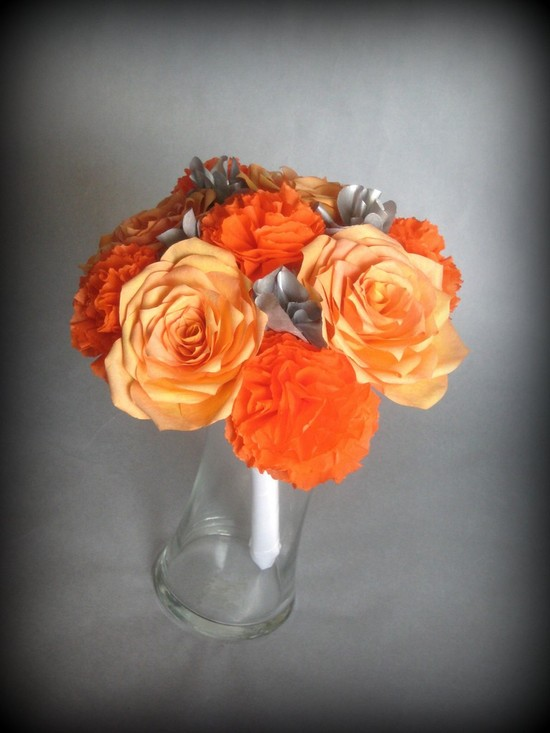 Vibrant orange and grey paper bridal bouquet