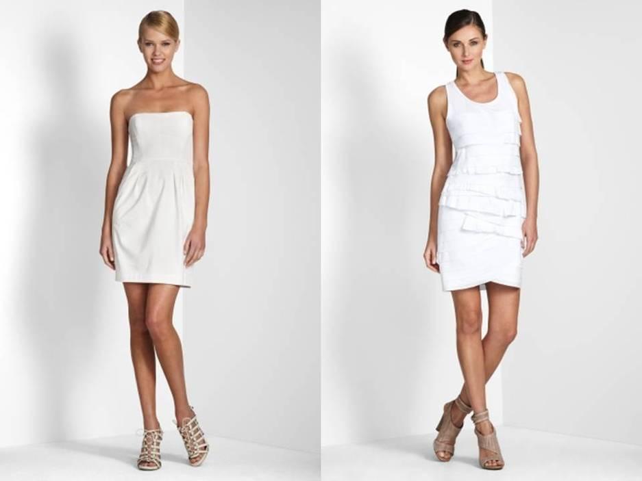 Herve Leger-inspired little white wedding dress