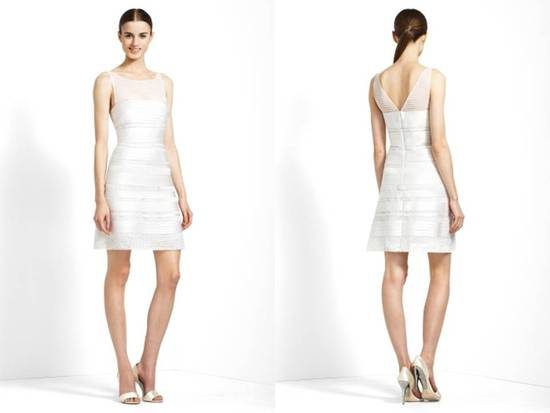 Herve Leger-inspired little white wedding dress