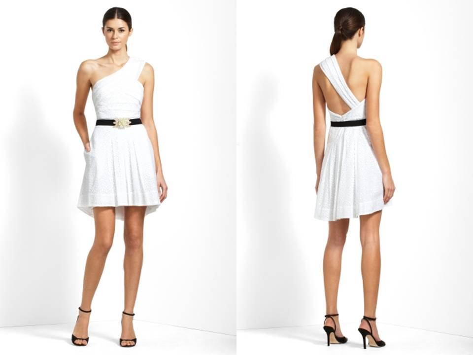 Grecian-inspired white wedding reception dress with black belt