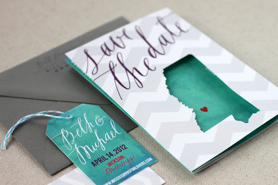 Creative save the dates with state cutout