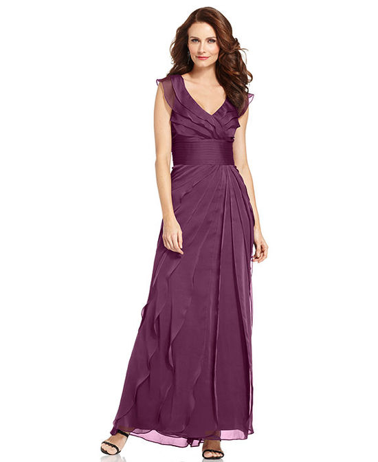 Adrianna Papell Petite Tiered Evening Dress