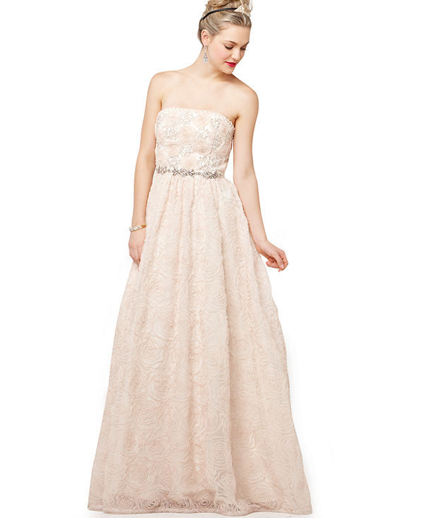 Andrianna Papell Dress, Strapless Beaded Ball Gown