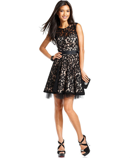 Betsey & Adam Sleeveless Belted Lace Dress
