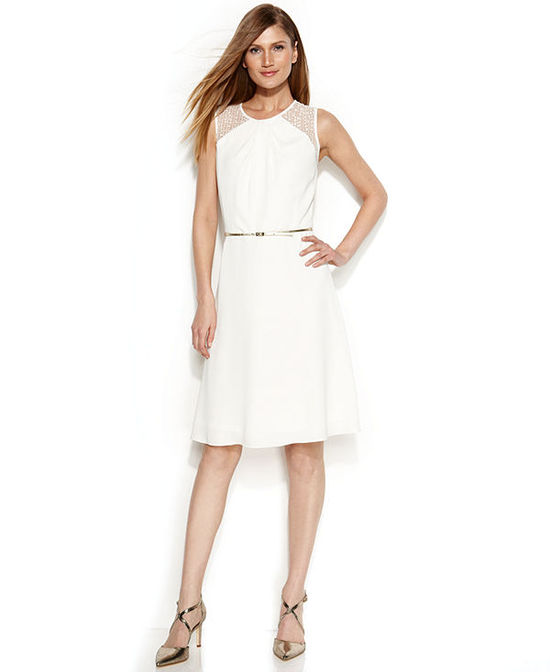 Calvin Klein Belted Illusion A-Line Dress