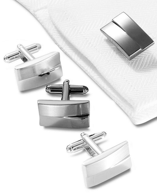 Geoffrey Beene Cufflinks, Brushed and Polished Rhodium Boxed Set