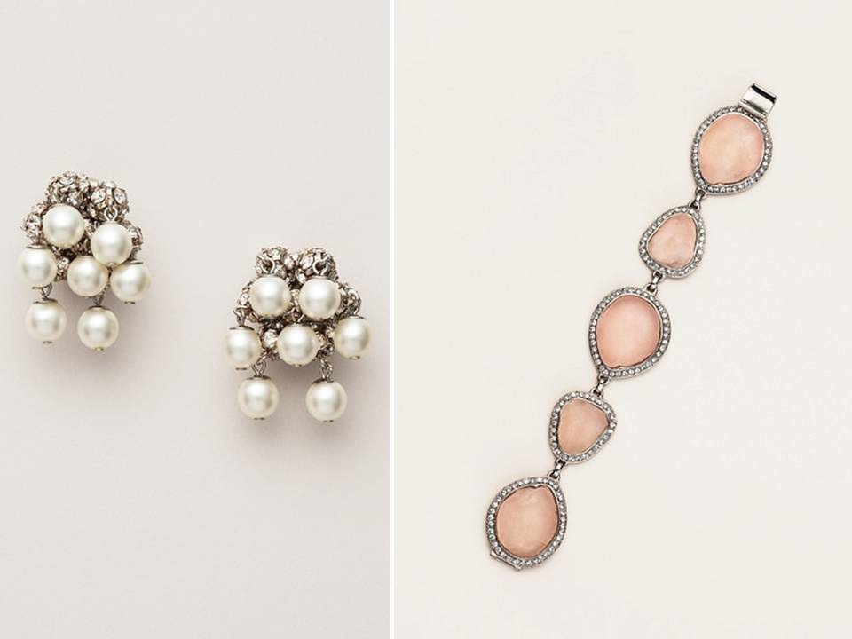 Pearl and rhinestone bridal earrings and blush pink bracelet