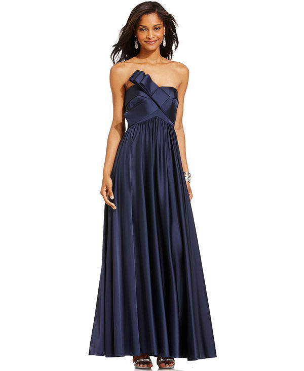 JS Collections Strapless Pleated Gown