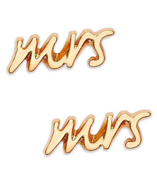 photo of kate spade new york Earrings, 12K Gold-Plated Mrs. Stud Earrings