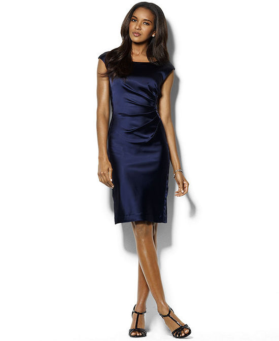 Lauren Ralph Lauren Cap-Sleeve Satin Sheath Dress