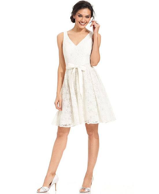 Marina Sleeveless Belted Lace A-Line Dress