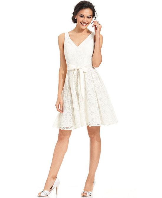 photo of Marina Sleeveless Belted Lace A-Line Dress