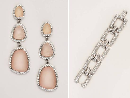 Romantic blush pink stone bridal earrings and wedding day bracelet
