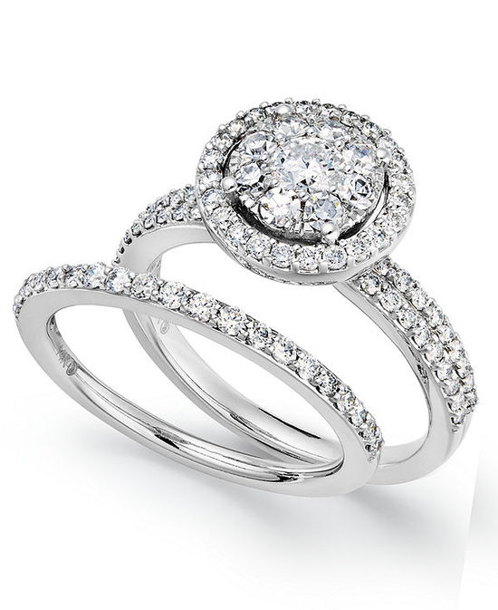 Prestige Unity Diamond Rings, 14k White Gold Diamond Engagement Ring and Wedding  Band