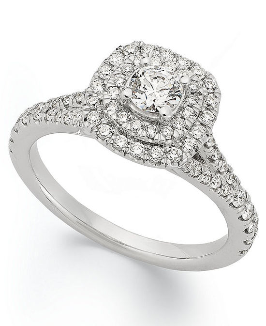 X3 Diamond Ring, 18k White Gold Certified Diamond Halo Engagement Ring