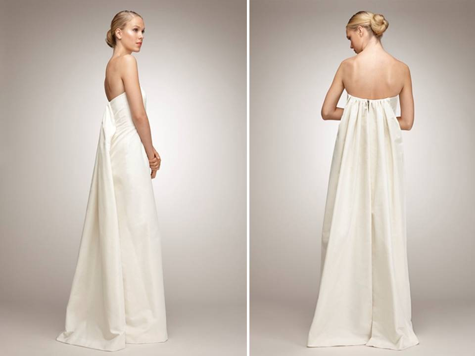 Classic ivory empire wedding dress with simple strapless for Simple ivory wedding dresses