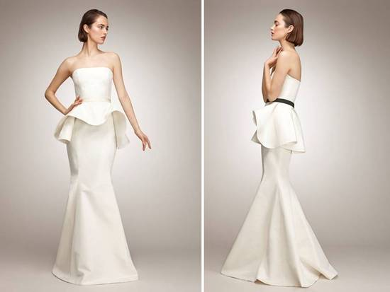 Chic ivory mermaid wedding dress with black sash and peplum