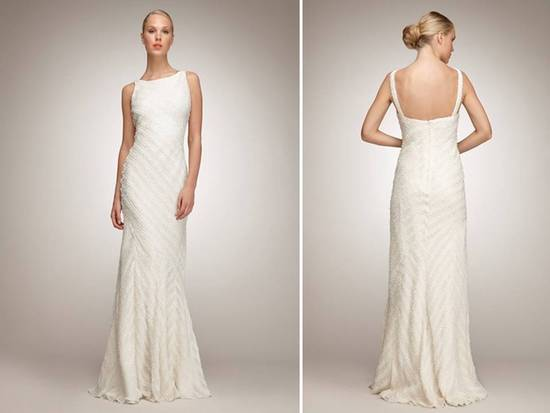 Chic modified mermaid lace wedding dress with classic bateau neck