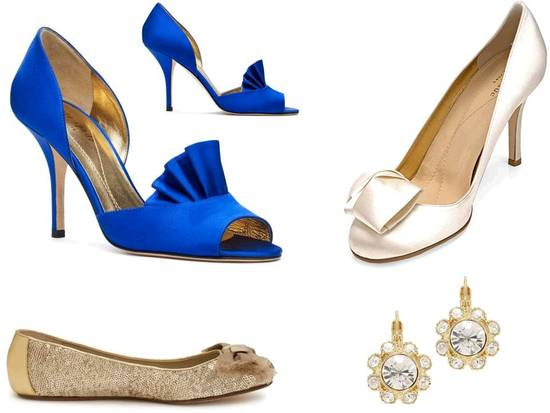 Chic bridal heels from Kate Spade and gorgeous wedding earrings