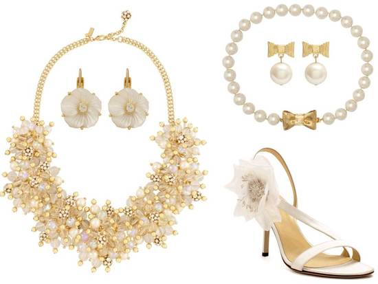 Classic gold and pearl bridal jewelry and wedding shoes by Kate Spade