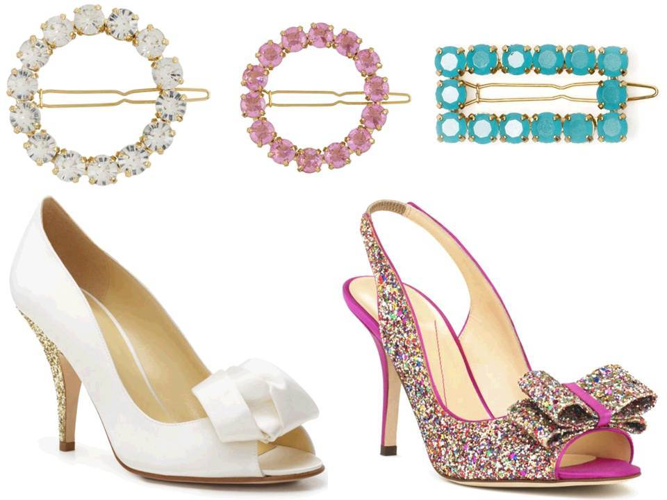 On-trend metallic embellished bridal heels and girly bridal barrettes