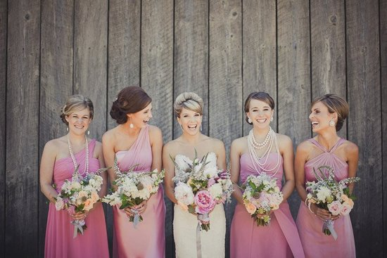 feb 2012 mix and matched bridesmaids dresses