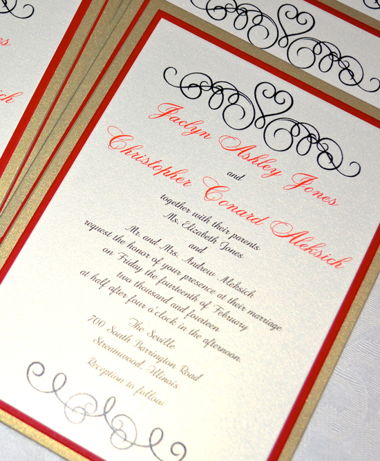 Red and Gold Panel Pocket Wedding Invitation
