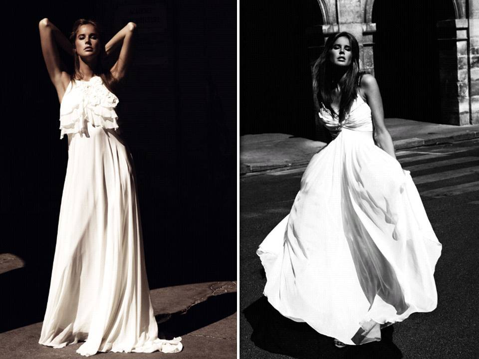 Flowy draped wedding dresses by italian designer ugo zaldi for Italian design wedding dresses