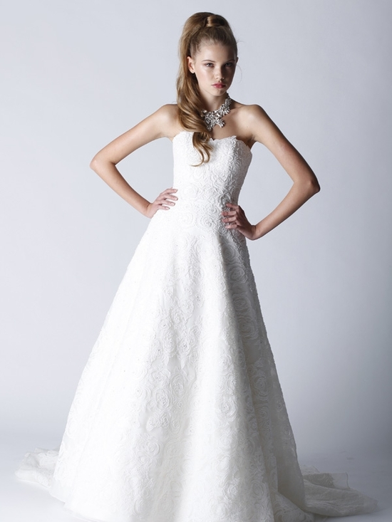Romantic lace strapless full a-line wedding dress by Melissa Sweet
