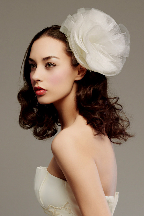 Dramatic oversized ivory silk hair flower to adorn your wedding hairstyle