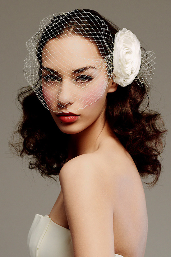 Romantic French net bridal blusher with ivory floral rosette
