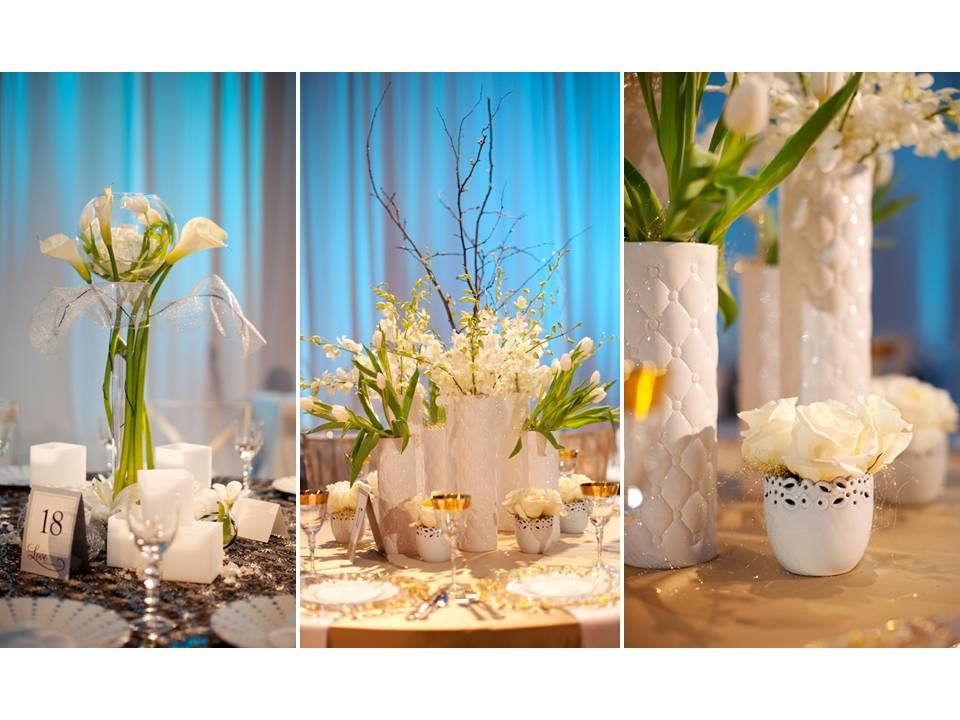 Unique white and blue wedding flower centerpieces