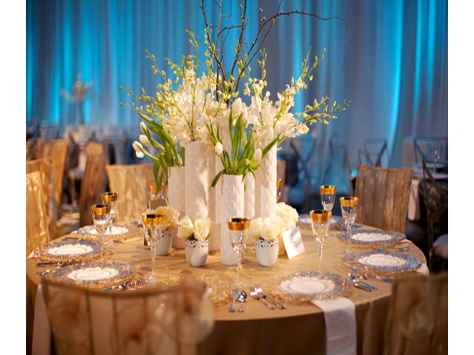 Contemporary blue white and champagne wedding reception for White wedding table decorations