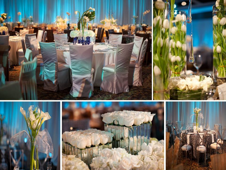 Blue and white wedding reception centerpieces and decor