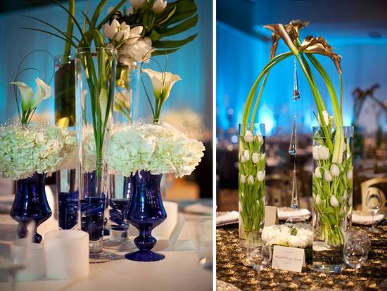 Chic white and blue wedding reception centerpieces using white hydrangeas, lilies, and roses