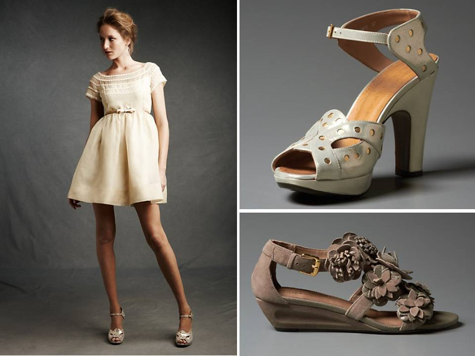 Retro-inspired short ivory wedding reception dress and platform peep ...