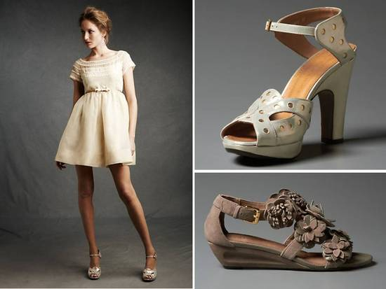 Retro-inspired short ivory wedding reception dress and platform peep-toe wedding shoes