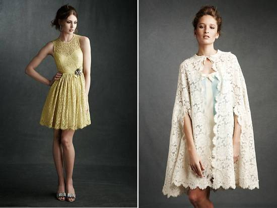 photo of Romantic yellow lace bridesmaid dress and crochet bridal cape by BHLDN