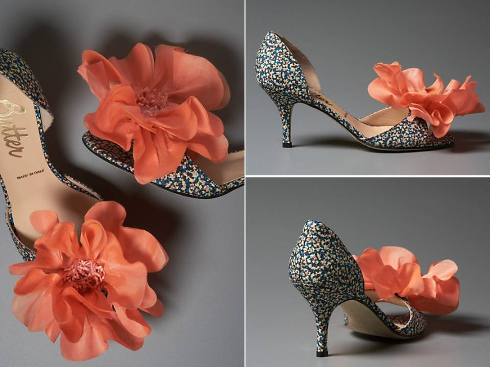Statement bridal d'orsay pumps with large red flower detail