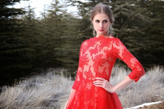 Red lace dress by Nelli Uzun