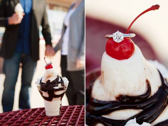 Round diamond engagement ring photographed on top ice cream sundae