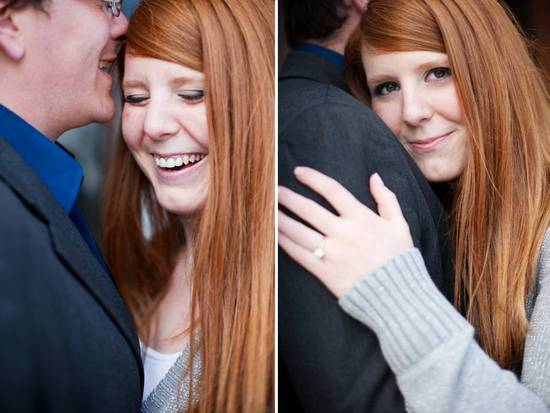 Blushing bride-to-be shows off round diamond engagement ring
