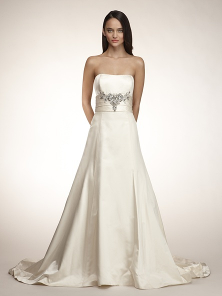 Classic 2011 wedding dress by Amsale- strapless a-line, embellished bridal belt