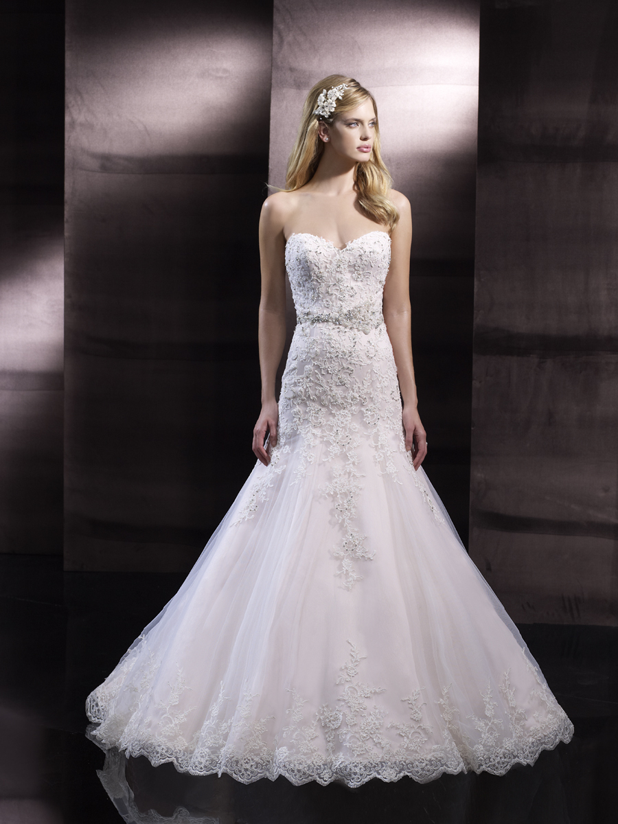 Fit and flare wedding gown from Moonlight Couture