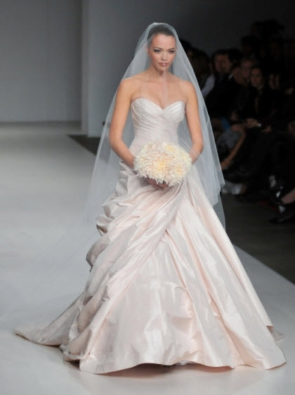 Light pink 2011 sweetheart neckline wedding dress by Romona Keveza