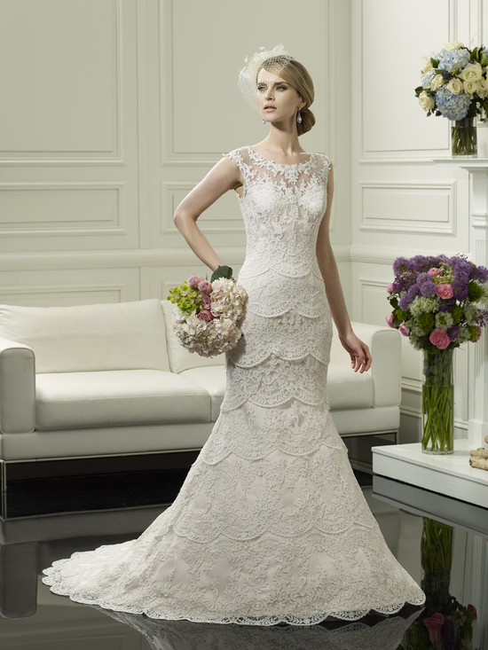 photo of Scalloped lace wedding gown from Moonlight Couture