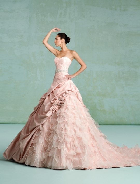 Dramatic pink ballgown 2011 wedding dress with textured skirt